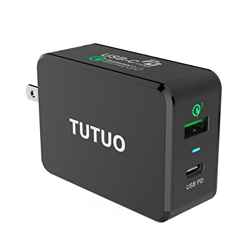 TUTUO USB C PD Charger, Type C + Quick Charge 3.0 Wall Charger with Power Delivery, Power Adapter Fast Charge for iPhone 8 / X / 8 Plus, Galaxy S9, Moto Z, Mate 20, MacBook Pro and More
