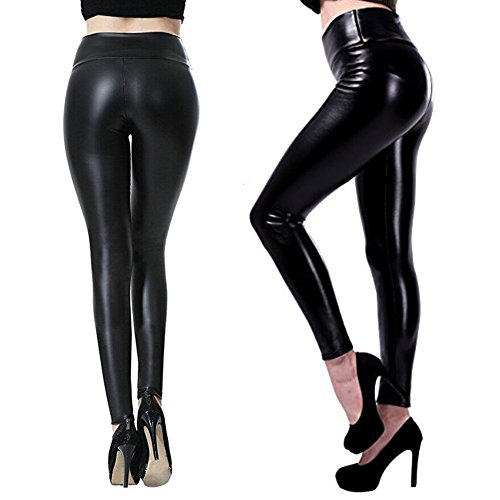 GUGER Women's Stretchy Faux Leather Leggings Pants, Black High Waisted Tights (L)