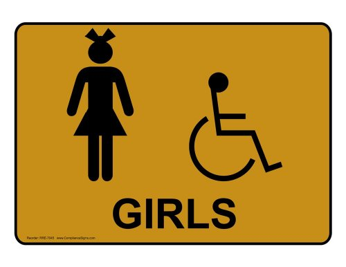 ComplianceSigns Vinyl ADA Restroom Label, 5 x 3.5 in. with Womens / Girls Info, 4-Pack - For Gold Info Kids