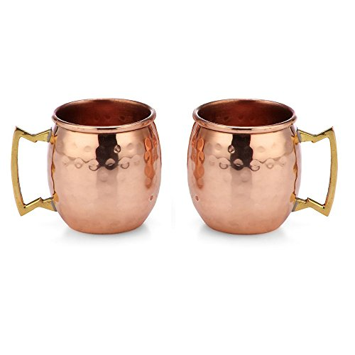 Modern Home Authentic 100% Solid Copper Hammered Moscow Mule Mug 2-Oz Shot Glass - Set of - 4 Shot Mini Mug