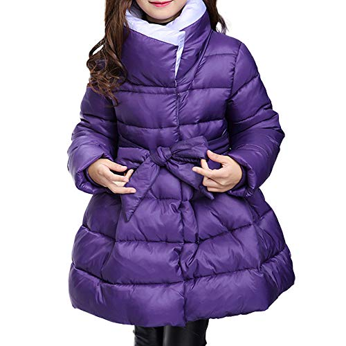 CNMUDONSI Winter Coats for Girls Parka Long Padded Bubble Puffer Jacket Belted Fashion Outwear 6-14T (A0022violet,6T)