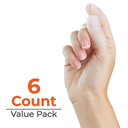NatraCure Gel Toe Cap and Finger Protector - 6 PACK - (Size: Large/X-Large) - Helps Cushion and Reduce Pain from Corns, Blisters, Hammer Toes, and Ingrown Nails