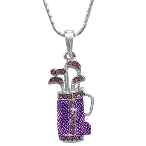 cocojewelry Golf Club Set Bag Sporting Goods Pendant Necklace Sports fashion Jewelry (Lavender)