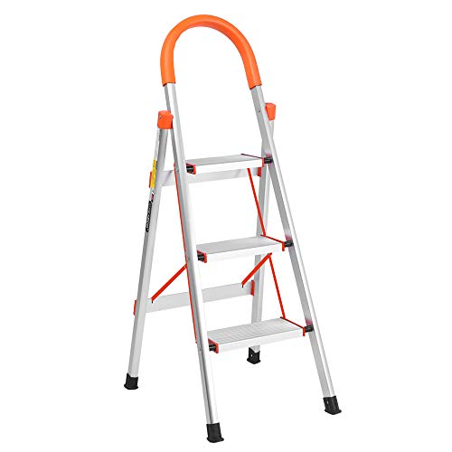 LUISLADDERS 3 Step Ladder Aluminum Lightweight Multi Purpose Portable Folding Home Ladder Anti-Slip Folding Stool Sturdy Steel Ladder 330lbs EN131 (Aluminum Ladder Dual)