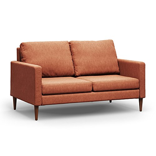 - Campaign Steel Frame Brushed Weave Loveseat, 61 Inches, Mojave Orange with Mahogany Stained Solid Oak Legs