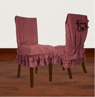 Set of Two Soft Micro Suede Shortly Dining Chair Covers (Wine)