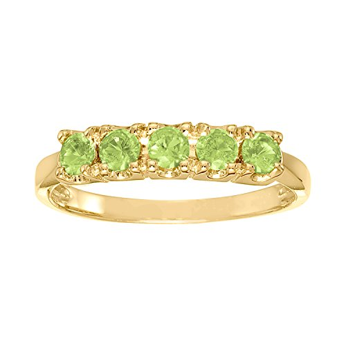 ArtCarved Sweet Moment Simulated Peridot August Birthstone Ring, 10K Yellow Gold, Size 8.5