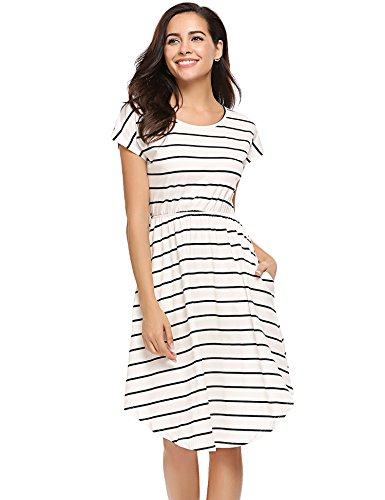 (Ladies Casual High Low Summer Beach Coverup Sun Dress Ivory,XL)