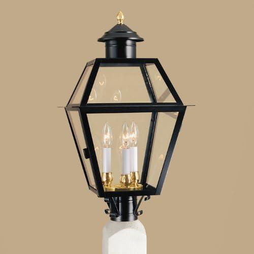 Norwell Lighting 2235-BL-CL Lexington Large 3 Light Outdoor Post Lantern Black w Clear Glass