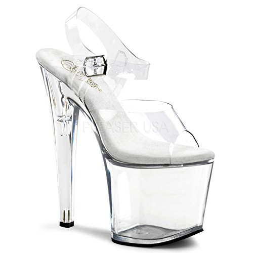 Pleaser Women's Taboo-708CM Platform Sandal,Clear,7 M US