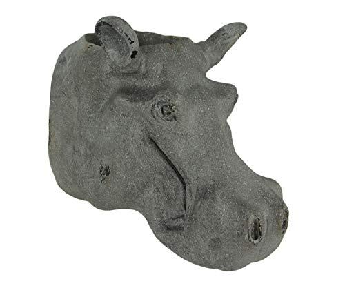 Grey Stone Finish Hippo Head Hanging Planter Statue
