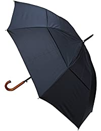 Windproof EXTRA STRONG - StormDefender City Umbrella - Vented Canopy - HIGHLY ENGINEERED TO COMBAT INVERSION DAMAGE - Auto Open - Solid Wood Hook Handle - Black