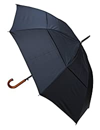 COLLAR AND CUFFS LONDON - Windproof EXTRA STRONG - StormDefender City Umbrella - Vented Double Layer Canopy - HIGHLY ENGINEERED TO COMBAT INVERSION DAMAGE - Auto Open - Solid Wood Hook Handle - Black