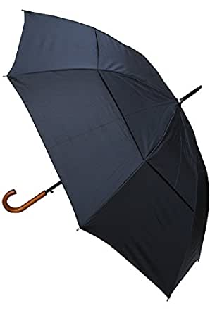 COLLAR AND CUFFS LONDON - Windproof EXTRA STRONG - StormDefender City Umbrella - Vented Canopy - HIGHLY ENGINEERED TO COMBAT INVERSION DAMAGE - Automatic Open - Solid Wood Hook Handle - Black - Large