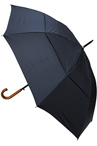 COLLAR AND CUFFS LONDON - Windproof EXTRA STRONG - StormDefender City Umbrella - Vented Canopy - HIGHLY ENGINEERED TO COMBAT INVERSION DAMAGE - Auto Open - Solid Wood Hook Handle - Black -