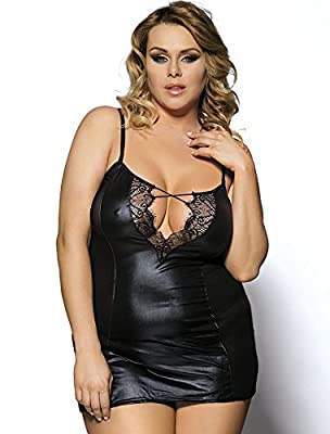 Lace and Leather look Plus Size Stretchy Sexy Lingerie Slimming Dress See through Party Mini Dress Costume