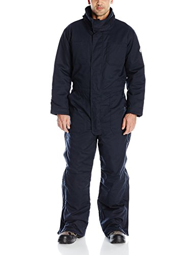 Bulwark Flame Resistant 7 oz Twill Cotton/Nylon Excel FR ComforTouch Long Premium Insulated Coverall with Concealed Snap Closure, Navy, 2X-Large