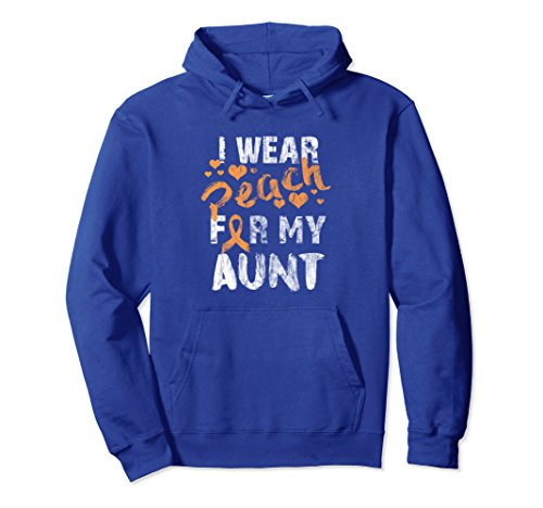 Unisex I Wear Peach For My Aunt - Uterine Cancer Hoodie Medium Royal - Peaches Aunt