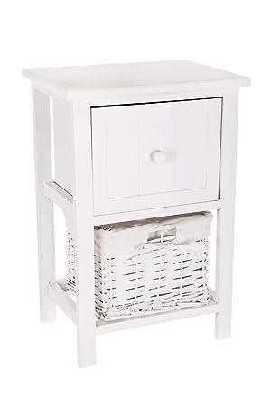 FiNeWaY @ vollständig montiert Weiß Shabby Chic Nachttisch Einheit Tisch W  Weidenkorb verstauen Badezimmer Schlafzimmer