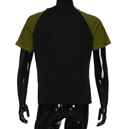 Maglietta A Uomo Top Fitness Estiva Muscoli Sportivi Tops Maniche Camicia T Corte Con Longra Casual Patchwork Slim shirt 2Verde Fit Girocollo Ybg7yf6