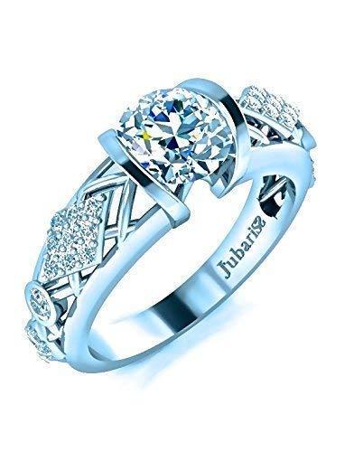 1.02 Ctw Contemporary Round Diamond Engagement Ring Tension Set White Gold 14K Jubariss Tufted Shank Custom Handmade - Ring Brilliant Round Tension Diamond