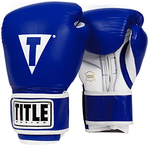 Title Boxing Pro Style Leather Training Gloves, Blue/White, 14 ()