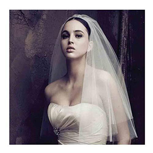Olbye Women's Wedding Veil Two Tier Elbow Length Veil Raw Edge Veils for wedding Soft Tulle Bridal Veil (Ivory style2) Cut Edge Wedding Veil