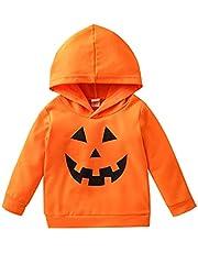 Bagilaanoe Kids Toddler Boy Girl Halloween Pumpkin Sweatshirt Long Sleeve Pullover Hoodie Tee Shirt Tops Fall Clothes