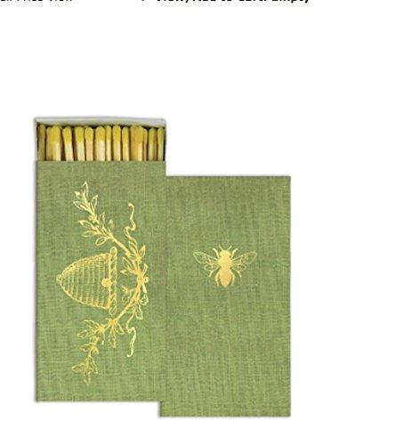 HomArt Gold Foil Bee Crest Long Matches Match Box Set Of 2
