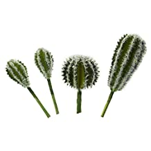 LJY 4 Pieces Realistic Artificial Cactus Faux Succulent Greenhouse Assorted Small Plants Unpotted for Home Garden Decoration