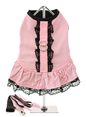 UrbanPup Pink Harness Mini Dress and Leash Set (Large – Dog Body Length: 14″ / 35cm), My Pet Supplies