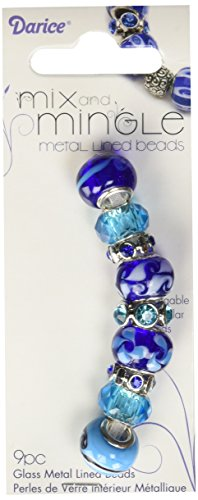 - Darice Mingle Aqua and Blue Mix Glass Beads
