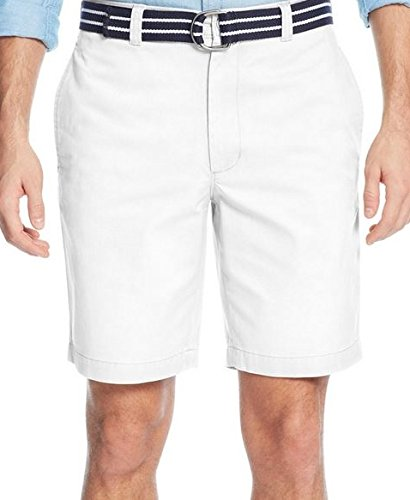 Club Room Estate Collection White Belted Flat-Front Shorts S