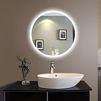 Genial Decoraport 24 In Round Lighted Bathroom Mirror,Wall Mount Bathroom Vanity  Mirror Make Up With