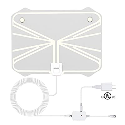 Best HDTV Antenna, 1080P Advanced 50 Miles Range Digital TV Antenna Indoor, Super Thin For 0.02?, 16.5ft Coax Cable With Detachable Amplifier Signal Booster ( With UL Certificate)