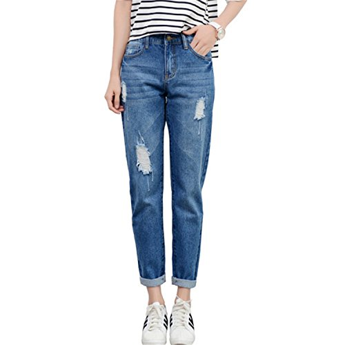 Push pour d't Pantalons Bleu Pantalons Taille Coton Dark Femmes Haute Jeans Dames Up Dchir pour Auspicieux Jeans Femmes Dcontracts Les Dchir Mode Blue Jeans a4Fqw4An