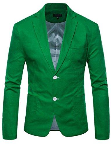 FEHAAN Mens Lightweight Slim Fit Suit Two-Button Casual Linen Coats Jacket Light Green