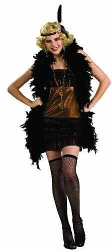 Rubie's Costume Women's Deluxe Charleston Honey Flapper Costume, Black/Honey, (Honey Deluxe Adult Costume)