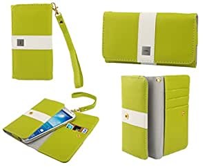 DFV mobile - Cover premium with color line design with card case for > pomp w99a, color pistacho