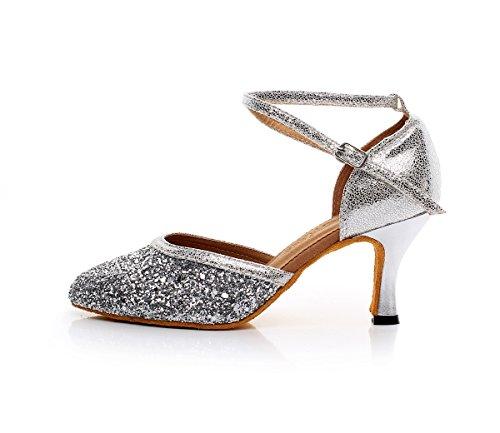 Minishion Womens Girls Comodo Glitter Latino Salsa Scarpe Da Ballo Scarpe Da Ballo Da Sposa Per Tacco Argento-7,5cm Femminile