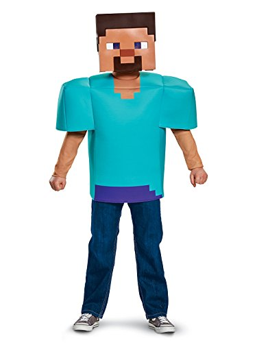 (Steve Classic Minecraft Costume, Multicolor, Medium)
