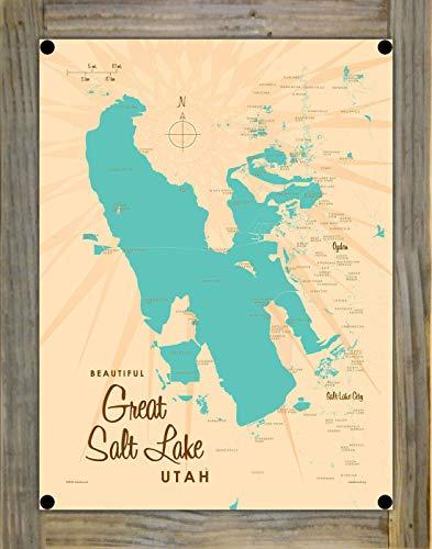 Great Salt Lake Utah Vintage-Style Map Metal Print on Reclaimed Barn Wood by Lakebound (9