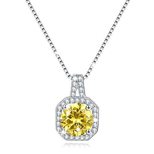 Solitaire Silver Necklace Jewelry Cubic Zircon CZ Necklace Halo Pendant Simulated Citrine November Birthstone Valentine's Day Gifts Birthday Gifts for Women Girlfriend Wife Anniversary Gifts for Wife