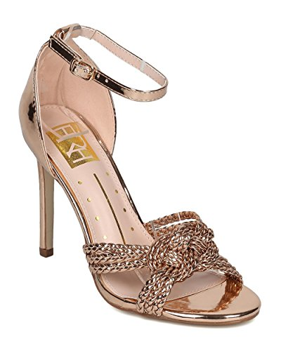 Alrisco Women Ankle Strap Stiletto Sandal - Braided Metallic Dressy Heel - Knotted Dressy Wedding Formal Party Special Occasion Sandal - HD50 by Fahrenheit Collection Rose Gold Metallic