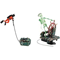 LOVIVER Treasure Diver Treasure Hunter Aquarium Fish Tank Air-Operated Decoration + Resin Air Pump Bubbling Skeleton Ornament Fish Tank Background Decor