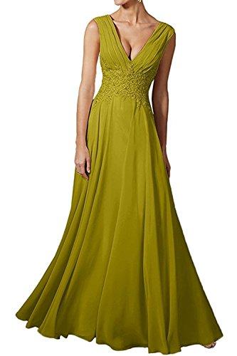 Formalkleider Linie Gruen Brautmutterkleider Abendkleider Damen La A Braut Partykleider Lang Ballkleider Olive Spitze Beige mia x4fvfqwR