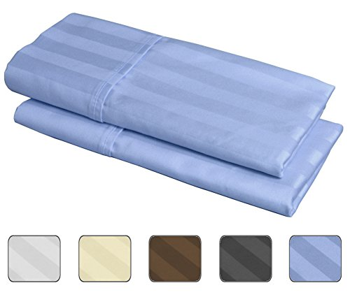 Egyptian Striped Pillowcase - 100% Egyptian Cotton, 540 Thread Count 2 Pack Striped King Size Pillowcases - 4 Colors With Wrinkle Guard To Choose From - fits 20x36 (Color: Light Blue)