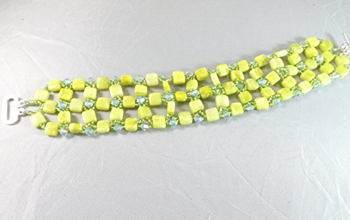Handmade Yellow Jade and Swarovski Crystal Right Angle Weave Bracelet