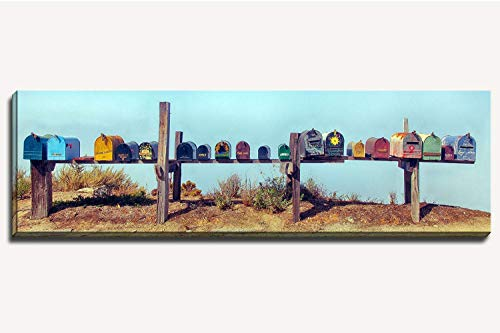 12 x 36 inch panoramic canvas gallery wrapped photograph of a group of colorful painted mailboxes