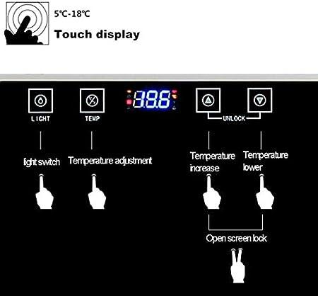 YFGQBCP 30 Botella termoeléctrica Rojo y Negro del refrigerador de Vino, Panel táctil Digital de la Pantalla de Temperatura, Nevera Independiente Mostrador Bodega Nevera